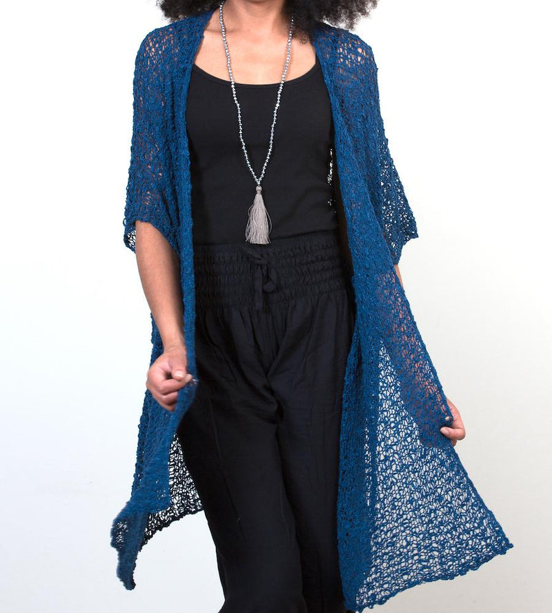 Navy Blue Mid-Length Popcorn Knit Kimono - sariKNOTsari slow fashion bryn walker linen Hamilton sustainable fashion gifts sari not sari Hamilton Fair trade  Ethical  Artisan made  Zero waste  Up-cycled Slow Fashion  Handmade  GTA Toronto Copper Pure Upcycled vintage silk handmade recycled recycle copper pure silk travel clothing hamilton vacation cruisewear resortwear bathing suit bathingsuit vacation etsy silk clothing gifts gift dress top pants linen bryn walker alive intentions kaarigar elephants