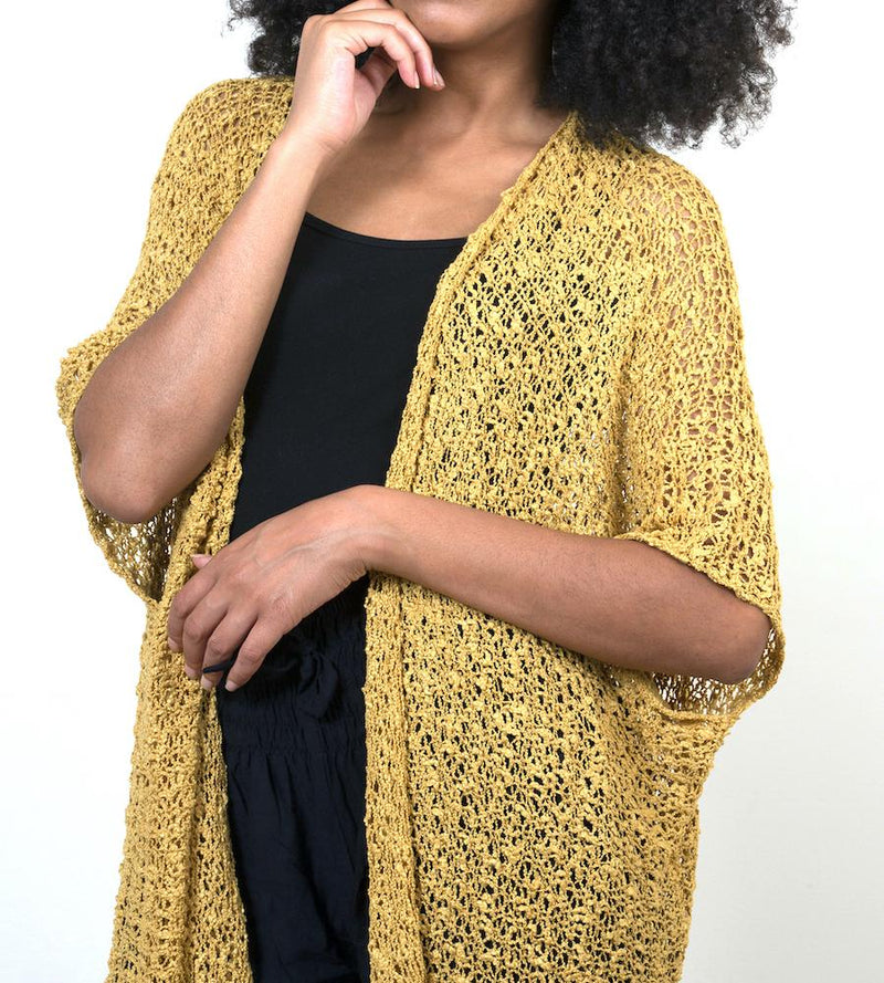 Mustard Mid-Length Popcorn Knit Kimono - sariKNOTsari slow fashion bryn walker linen Hamilton sustainable fashion gifts sari not sari Hamilton Fair trade  Ethical  Artisan made  Zero waste  Up-cycled Slow Fashion  Handmade  GTA Toronto Copper Pure Upcycled vintage silk handmade recycled recycle copper pure silk travel clothing hamilton vacation cruisewear resortwear bathing suit bathingsuit vacation etsy silk clothing gifts gift dress top pants linen bryn walker alive intentions kaarigar elephants