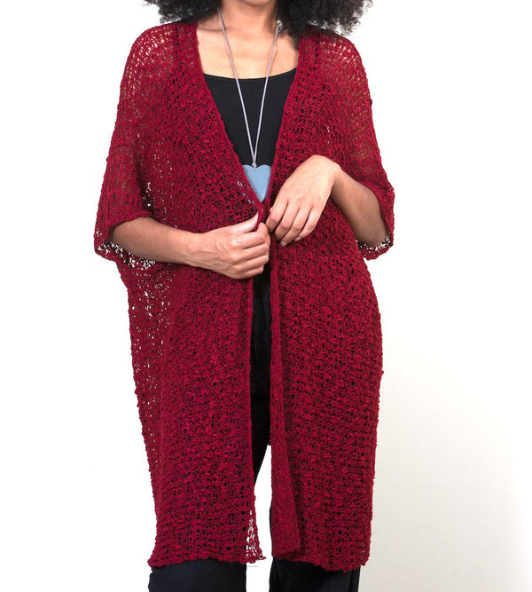 Deep Red Mid-Length Popcorn Knit Kimono - sariKNOTsari slow fashion bryn walker linen Hamilton sustainable fashion gifts sari not sari Hamilton Fair trade  Ethical  Artisan made  Zero waste  Up-cycled Slow Fashion  Handmade  GTA Toronto Copper Pure Upcycled vintage silk handmade recycled recycle copper pure silk travel clothing hamilton vacation cruisewear resortwear bathing suit bathingsuit vacation etsy silk clothing gifts gift dress top pants linen bryn walker alive intentions kaarigar elephants