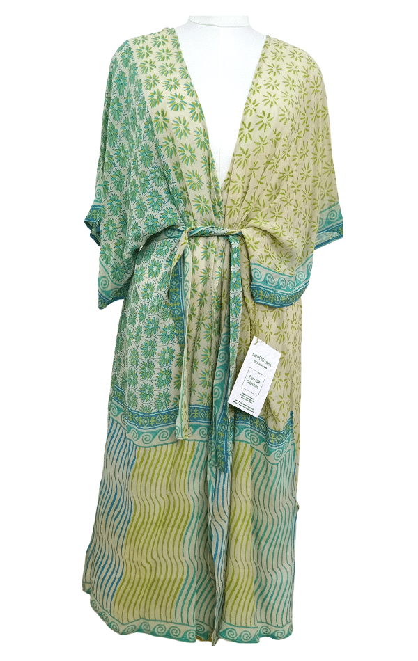 SALE Dainty Sheer Long Pure Silk Kimono-Sleeved Duster with Belt
