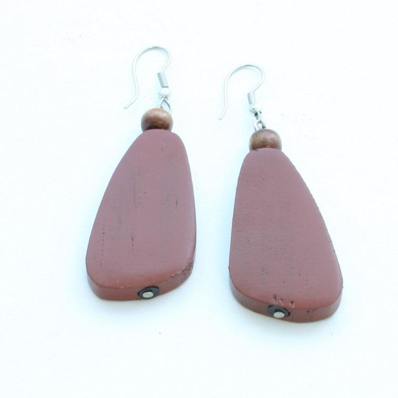 Maroon Oblong Wooden Earrings - sariKNOTsari slow fashion bryn walker linen Hamilton sustainable fashion gifts sari not sari Hamilton Fair trade  Ethical  Artisan made  Zero waste  Up-cycled Slow Fashion  Handmade  GTA Toronto Copper Pure Upcycled vintage silk handmade recycled recycle copper pure silk travel clothing hamilton vacation cruisewear resortwear bathing suit bathingsuit vacation etsy silk clothing gifts gift dress top pants linen bryn walker alive intentions kaarigar elephants