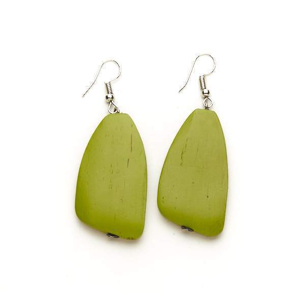 Green Oblong Wooden Earrings - sariKNOTsari slow fashion bryn walker linen Hamilton sustainable fashion gifts sari not sari Hamilton Fair trade  Ethical  Artisan made  Zero waste  Up-cycled Slow Fashion  Handmade  GTA Toronto Copper Pure Upcycled vintage silk handmade recycled recycle copper pure silk travel clothing hamilton vacation cruisewear resortwear bathing suit bathingsuit vacation etsy silk clothing gifts gift dress top pants linen bryn walker alive intentions kaarigar elephants