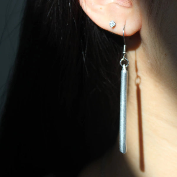 Bar Earrings - sariKNOTsari slow fashion Hamilton sustainable fashion gifts sari not sari Hamilton Fair trade  Ethical  Artisan made  Zero waste  Up-cycled Slow Fashion  Handmade  GTA Toronto Copper Pure Upcycled vintage silk handmade recycled recycle copper pure silk travel clothing hamilton vacation cruisewear resortwear bathing suit bathingsuit vacation