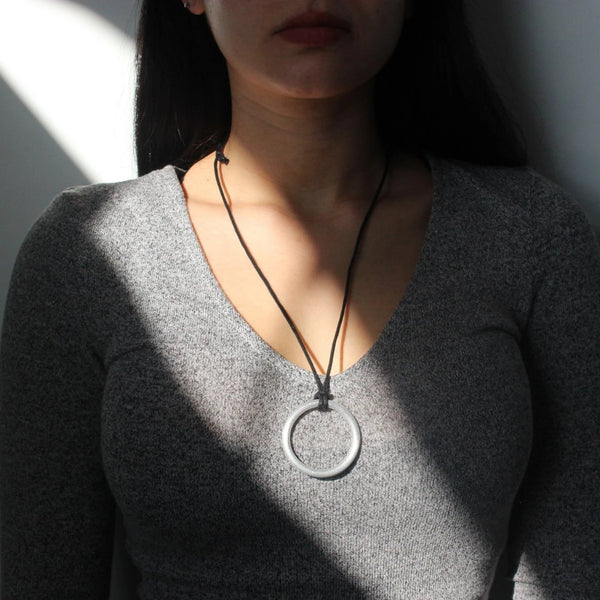Circle Necklace - sariKNOTsari slow fashion bryn walker linen Hamilton sustainable fashion gifts sari not sari Hamilton Fair trade  Ethical  Artisan made  Zero waste  Up-cycled Slow Fashion  Handmade  GTA Toronto Copper Pure Upcycled vintage silk handmade recycled recycle copper pure silk travel clothing hamilton vacation cruisewear resortwear bathing suit bathingsuit vacation etsy silk clothing gifts gift dress top pants linen bryn walker alive intentions kaarigar elephants