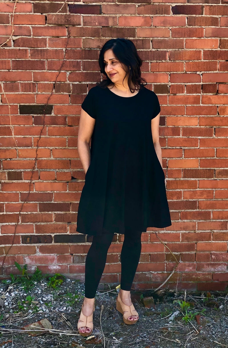 Black Organic Cotton A-Line T-Shirt Dress - sariKNOTsari slow fashion bryn walker linen Hamilton sustainable fashion gifts sari not sari Hamilton Fair trade  Ethical  Artisan made  Zero waste  Up-cycled Slow Fashion  Handmade  GTA Toronto Copper Pure Upcycled vintage silk handmade recycled recycle copper pure silk travel clothing hamilton vacation cruisewear resortwear bathing suit bathingsuit vacation etsy silk clothing gifts gift dress top pants linen bryn walker alive intentions kaarigar elephants