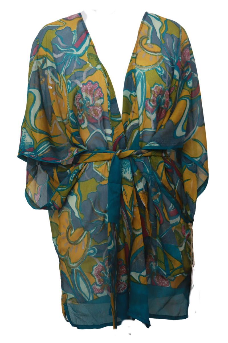 Superior Sheer Wabisabi Pure Silk Kimono-Sleeved Jacket with Belt
