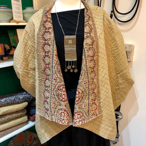 Zelda Block-Printed Kalamkari Kantha Pure Cotton Reversible Dune Jacket - sariKNOTsari slow fashion Hamilton sustainable fashion gifts sari not sari Hamilton Fair trade  Ethical  Artisan made  Zero waste  Up-cycled Slow Fashion  Handmade  GTA Toronto Copper Pure Upcycled vintage silk handmade recycled recycle copper pure silk travel clothing hamilton