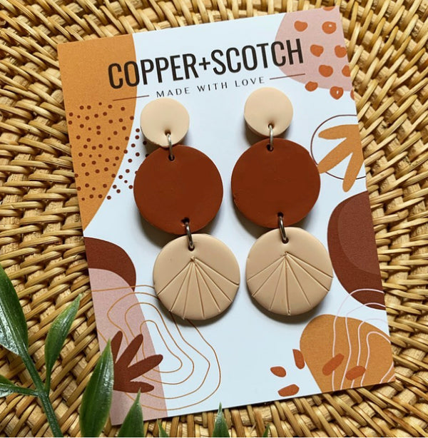 Tyra Earrings - sariKNOTsari slow fashion bryn walker linen Hamilton sustainable fashion gifts sari not sari Hamilton Fair trade  Ethical  Artisan made  Zero waste  Up-cycled Slow Fashion  Handmade  GTA Toronto Copper Pure Upcycled vintage silk handmade recycled recycle copper pure silk travel clothing hamilton vacation cruisewear resortwear bathing suit bathingsuit vacation etsy silk clothing gifts gift dress top pants linen bryn walker alive intentions kaarigar elephants