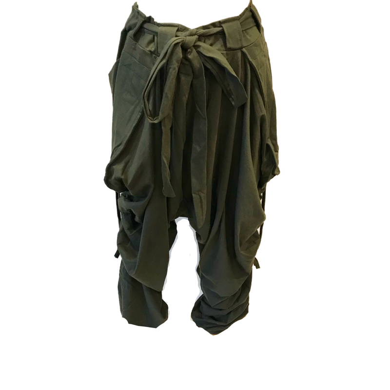 Olive Green Cotton Harem Pants - sariKNOTsari slow fashion bryn walker linen Hamilton sustainable fashion gifts sari not sari Hamilton Fair trade  Ethical  Artisan made  Zero waste  Up-cycled Slow Fashion  Handmade  GTA Toronto Copper Pure Upcycled vintage silk handmade recycled recycle copper pure silk travel clothing hamilton vacation cruisewear resortwear bathing suit bathingsuit vacation etsy silk clothing gifts gift dress top pants linen bryn walker alive intentions kaarigar elephants