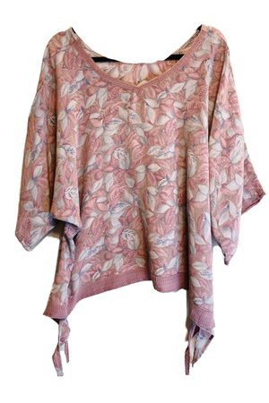 Petal Pure Silk Oversized Shirt with Side Ties - sariKNOTsari slow fashion bryn walker linen Hamilton sustainable fashion gifts sari not sari Hamilton Fair trade  Ethical  Artisan made  Zero waste  Up-cycled Slow Fashion  Handmade  GTA Toronto Copper Pure Upcycled vintage silk handmade recycled recycle copper pure silk travel clothing hamilton vacation cruisewear resortwear bathing suit bathingsuit vacation etsy silk clothing gifts gift dress top pants linen bryn walker alive intentions kaarigar elephants