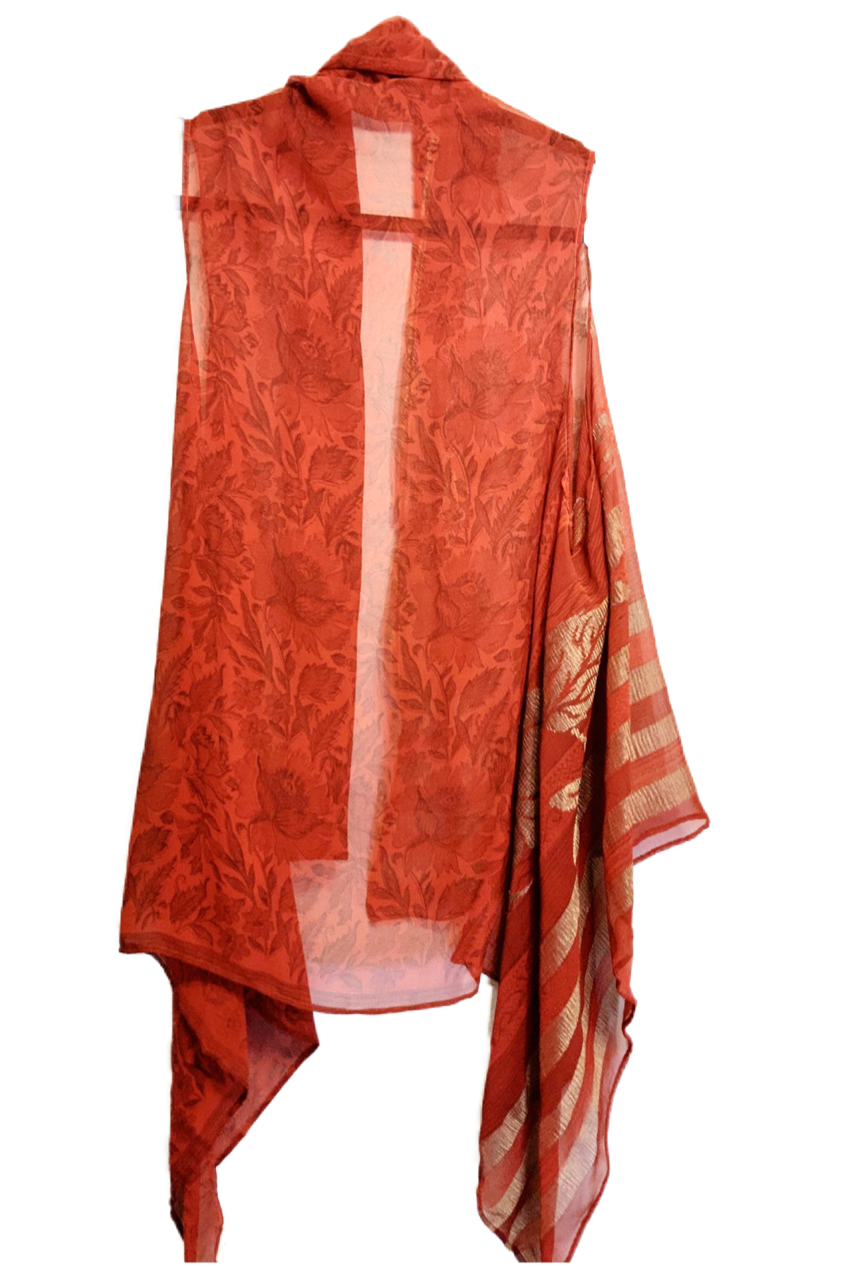 Baroque Sheer Pure Silk Versatile Vest - sariKNOTsari slow fashion bryn walker linen Hamilton sustainable fashion gifts sari not sari Hamilton Fair trade  Ethical  Artisan made  Zero waste  Up-cycled Slow Fashion  Handmade  GTA Toronto Copper Pure Upcycled vintage silk handmade recycled recycle copper pure silk travel clothing hamilton vacation cruisewear resortwear bathing suit bathingsuit vacation etsy silk clothing gifts gift dress top pants linen bryn walker alive intentions kaarigar elephants