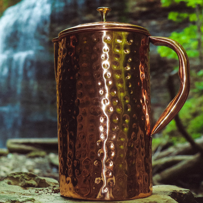 Pure Copper Water Pitcher - sariKNOTsari slow fashion bryn walker linen Hamilton sustainable fashion gifts sari not sari Hamilton Fair trade  Ethical  Artisan made  Zero waste  Up-cycled Slow Fashion  Handmade  GTA Toronto Copper Pure Upcycled vintage silk handmade recycled recycle copper pure silk travel clothing hamilton vacation cruisewear resortwear bathing suit bathingsuit vacation etsy silk clothing gifts gift dress top pants linen bryn walker alive intentions kaarigar elephants