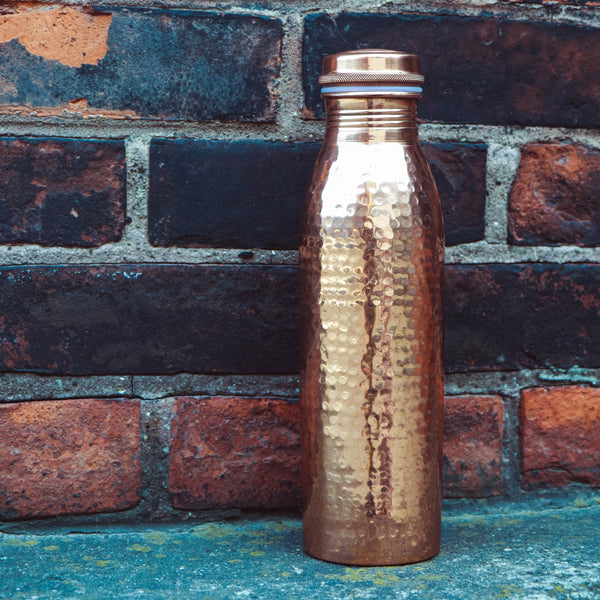 Pure Copper Water Bottle - sariKNOTsari slow fashion bryn walker linen Hamilton sustainable fashion gifts sari not sari Hamilton Fair trade  Ethical  Artisan made  Zero waste  Up-cycled Slow Fashion  Handmade  GTA Toronto Copper Pure Upcycled vintage silk handmade recycled recycle copper pure silk travel clothing hamilton vacation cruisewear resortwear bathing suit bathingsuit vacation etsy silk clothing gifts gift dress top pants linen bryn walker alive intentions kaarigar elephants