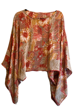 Garnet Pure Silk Kimono-Sleeved Top - sariKNOTsari slow fashion bryn walker linen Hamilton sustainable fashion gifts sari not sari Hamilton Fair trade  Ethical  Artisan made  Zero waste  Up-cycled Slow Fashion  Handmade  GTA Toronto Copper Pure Upcycled vintage silk handmade recycled recycle copper pure silk travel clothing hamilton vacation cruisewear resortwear bathing suit bathingsuit vacation etsy silk clothing gifts gift dress top pants linen bryn walker alive intentions kaarigar elephants