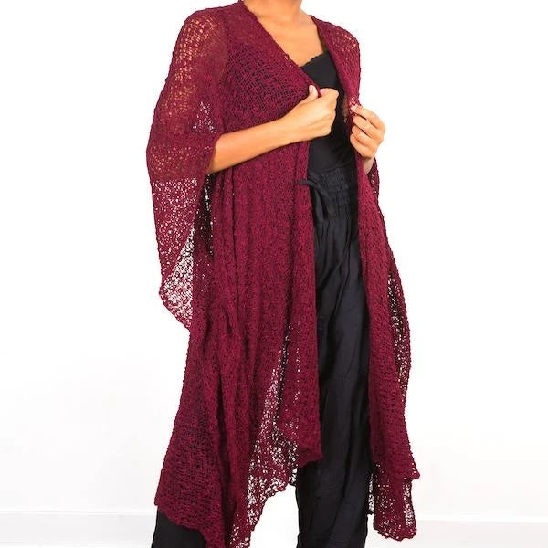 Burgundy Full-Length Popcorn Knit Kimono - sariKNOTsari slow fashion bryn walker linen Hamilton sustainable fashion gifts sari not sari Hamilton Fair trade  Ethical  Artisan made  Zero waste  Up-cycled Slow Fashion  Handmade  GTA Toronto Copper Pure Upcycled vintage silk handmade recycled recycle copper pure silk travel clothing hamilton vacation cruisewear resortwear bathing suit bathingsuit vacation etsy silk clothing gifts gift dress top pants linen bryn walker alive intentions kaarigar elephants