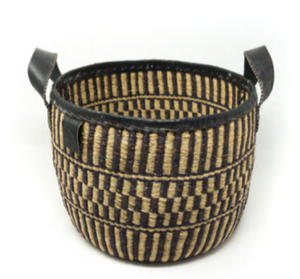 Hand-woven Black Checkered Basket - sariKNOTsari slow fashion Hamilton sustainable fashion gifts sari not sari Hamilton Fair Trade  Sustainable  Ethical  Artisan made  Zero waste  Up-cycled Slow Fashion  Handmade  GTA