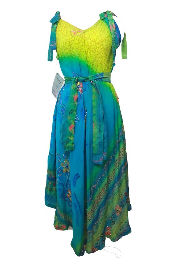 PRC030 Pure Silk Maxi Dress with Belt