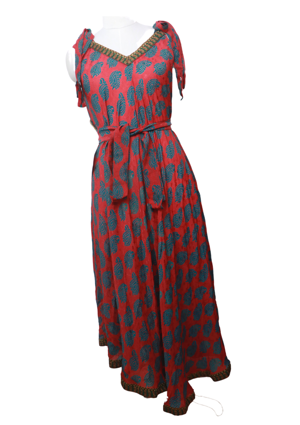 PRC031 Pure Silk Maxi Dress with Belt