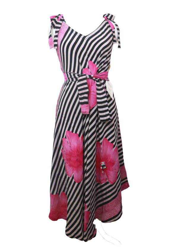 PRC026 Pure Silk Maxi Dress with Belt