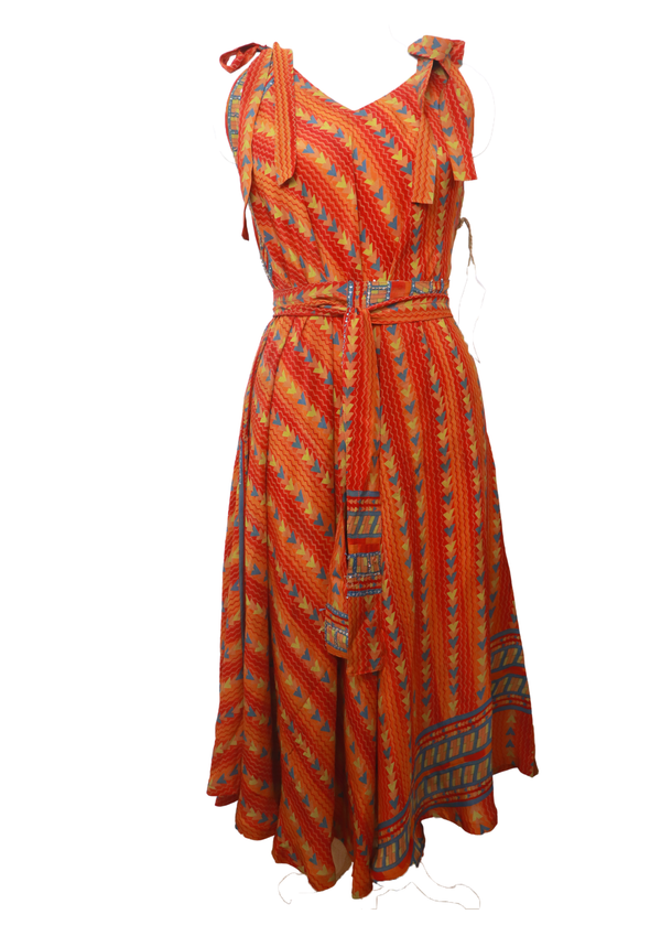 PRC023 Pure Silk Maxi Dress with Belt