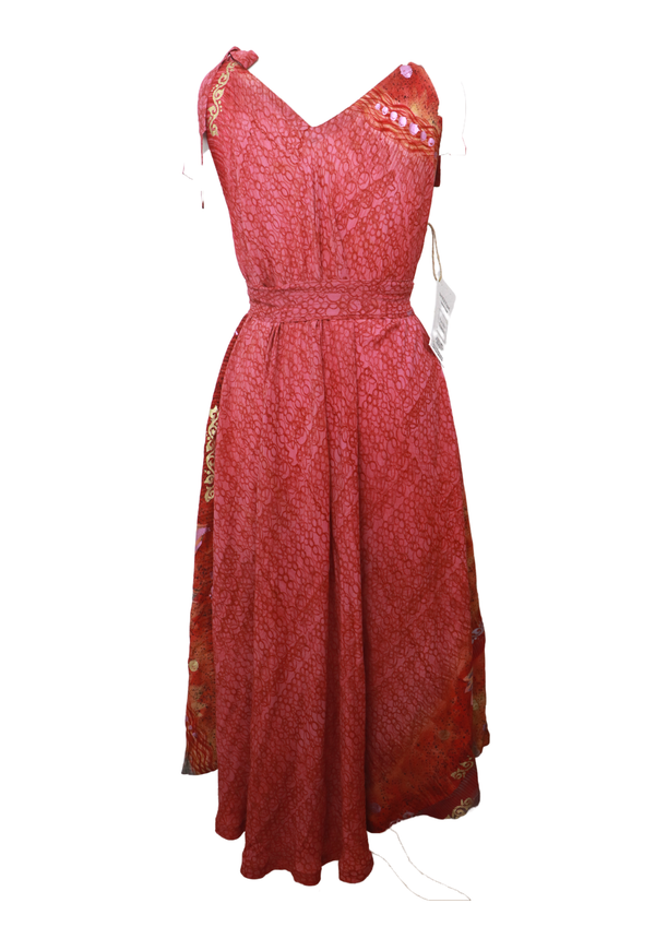 PRC027 Pure Silk Maxi Dress with Belt