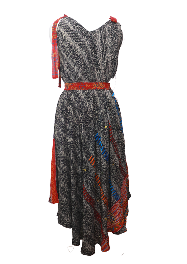 PRC021 Pure Silk Maxi Dress with Belt