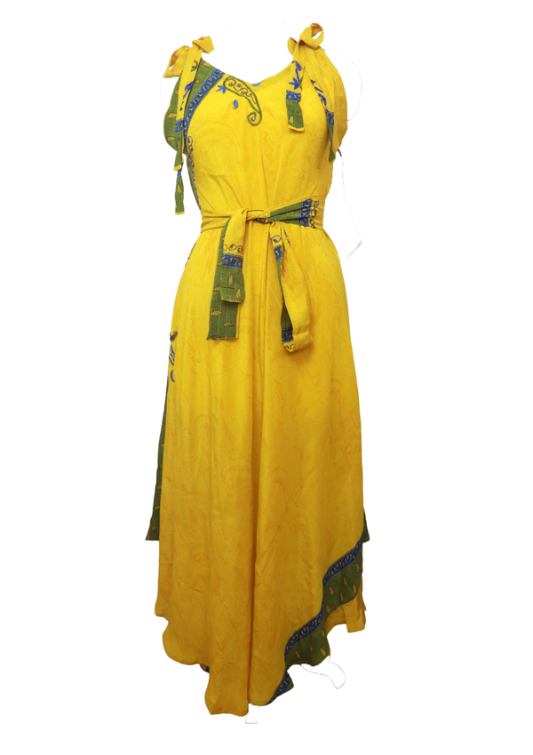 PRC022 Pure Silk Maxi Dress with Belt