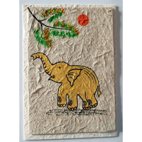 Handmade Elephant Card - sariKNOTsari slow fashion bryn walker linen Hamilton sustainable fashion gifts sari not sari Hamilton Fair trade  Ethical  Artisan made  Zero waste  Up-cycled Slow Fashion  Handmade  GTA Toronto Copper Pure Upcycled vintage silk handmade recycled recycle copper pure silk travel clothing hamilton vacation cruisewear resortwear bathing suit bathingsuit vacation etsy silk clothing gifts gift dress top pants linen bryn walker alive intentions kaarigar elephants