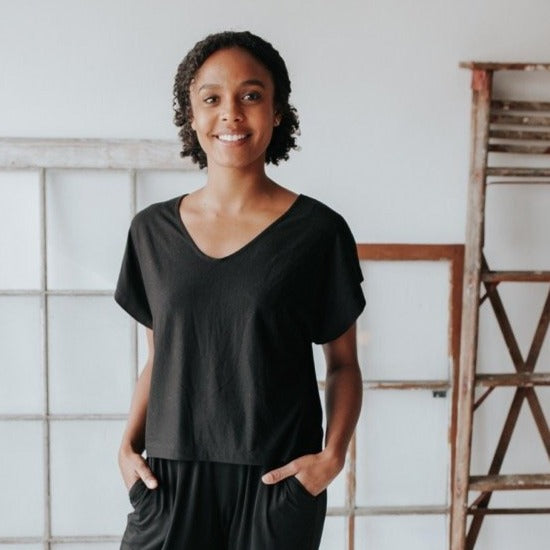 Mettamade Boxy Tee in Black - sariKNOTsari slow fashion bryn walker linen Hamilton sustainable fashion gifts sari not sari Hamilton Fair trade  Ethical  Artisan made  Zero waste  Up-cycled Slow Fashion  Handmade  GTA Toronto Copper Pure Upcycled vintage silk handmade recycled recycle copper pure silk travel clothing hamilton vacation cruisewear resortwear bathing suit bathingsuit vacation etsy silk clothing gifts gift dress top pants linen bryn walker alive intentions kaarigar elephants