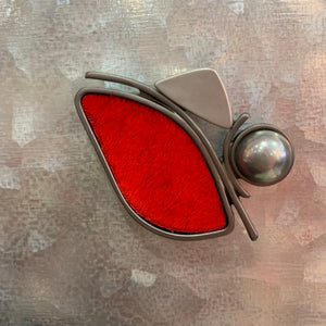 Red leather magnetic brooch - sariKNOTsari slow fashion Hamilton sustainable fashion gifts sari not sari Hamilton Fair trade  Ethical  Artisan made  Zero waste  Up-cycled Slow Fashion  Handmade  GTA Toronto Copper Pure Upcycled vintage silk handmade recycled recycle copper pure silk travel clothing hamilton