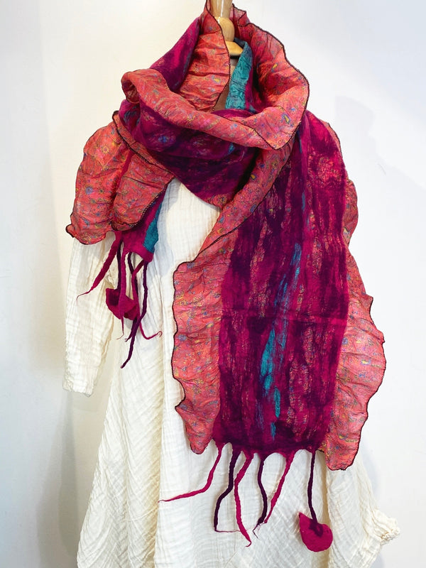 Félicite Up-cycled Silk and Felted Wool Scarf