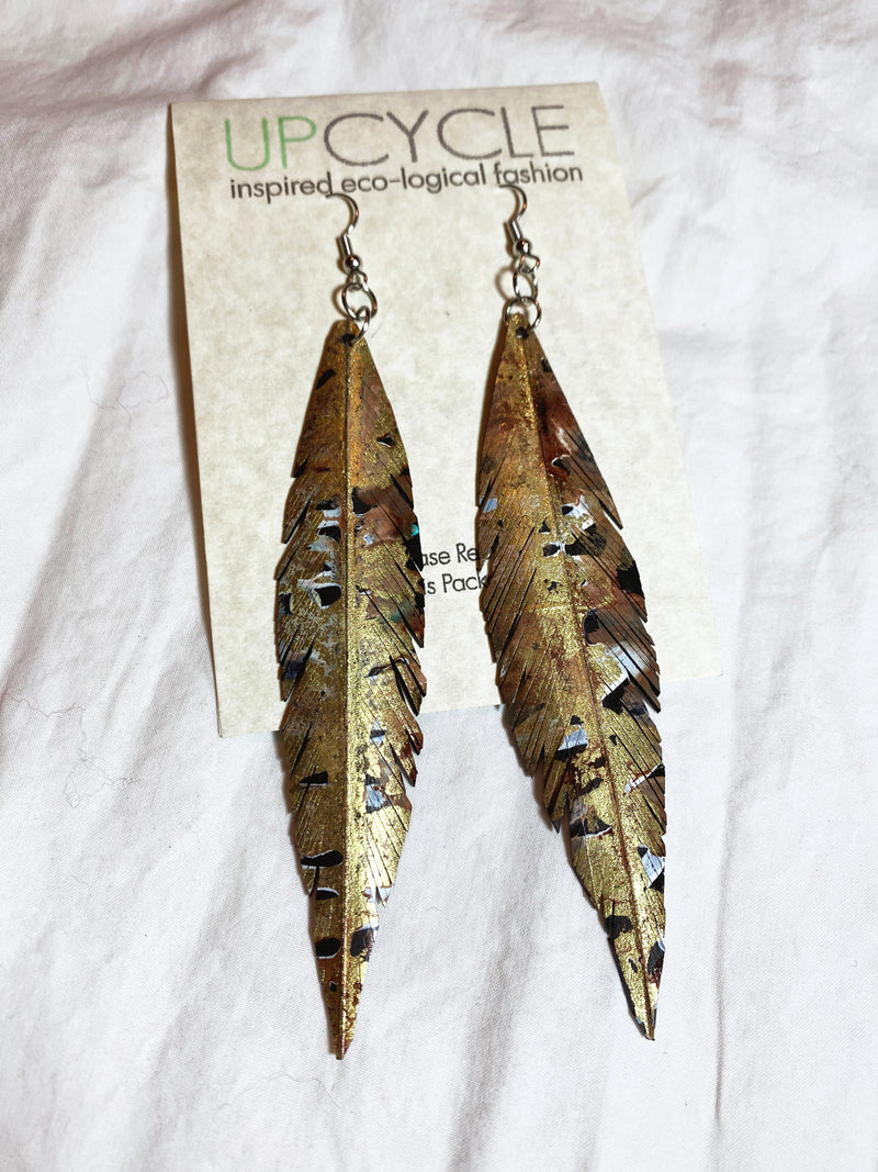 Gilded UPCYCLE Rubber Feather Earrings - sariKNOTsari slow fashion bryn walker linen Hamilton sustainable fashion gifts sari not sari Hamilton Fair trade  Ethical  Artisan made  Zero waste  Up-cycled Slow Fashion  Handmade  GTA Toronto Copper Pure Upcycled vintage silk handmade recycled recycle copper pure silk travel clothing hamilton vacation cruisewear resortwear bathing suit bathingsuit vacation etsy silk clothing gifts gift dress top pants linen bryn walker alive intentions kaarigar elephants