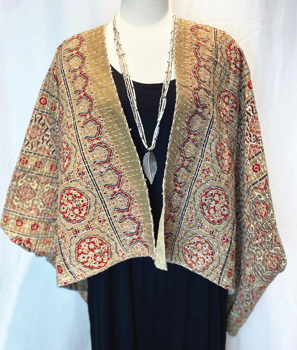 Zelda Block-Printed Kalamkari Kantha Pure Cotton Reversible Dune Jacket