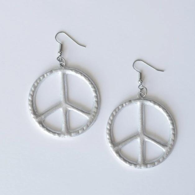 Peace earrings - sariKNOTsari slow fashion bryn walker linen Hamilton sustainable fashion gifts sari not sari Hamilton Fair trade  Ethical  Artisan made  Zero waste  Up-cycled Slow Fashion  Handmade  GTA Toronto Copper Pure Upcycled vintage silk handmade recycled recycle copper pure silk travel clothing hamilton vacation cruisewear resortwear bathing suit bathingsuit vacation etsy silk clothing gifts gift dress top pants linen bryn walker alive intentions kaarigar elephants