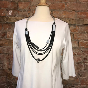 Multi Colour Rubber Necklace (Silver) - sariKNOTsari slow fashion Hamilton sustainable fashion gifts sari not sari Hamilton Fair Trade  Sustainable  Ethical  Artisan made  Zero waste  Up-cycled Slow Fashion  Handmade  GTA