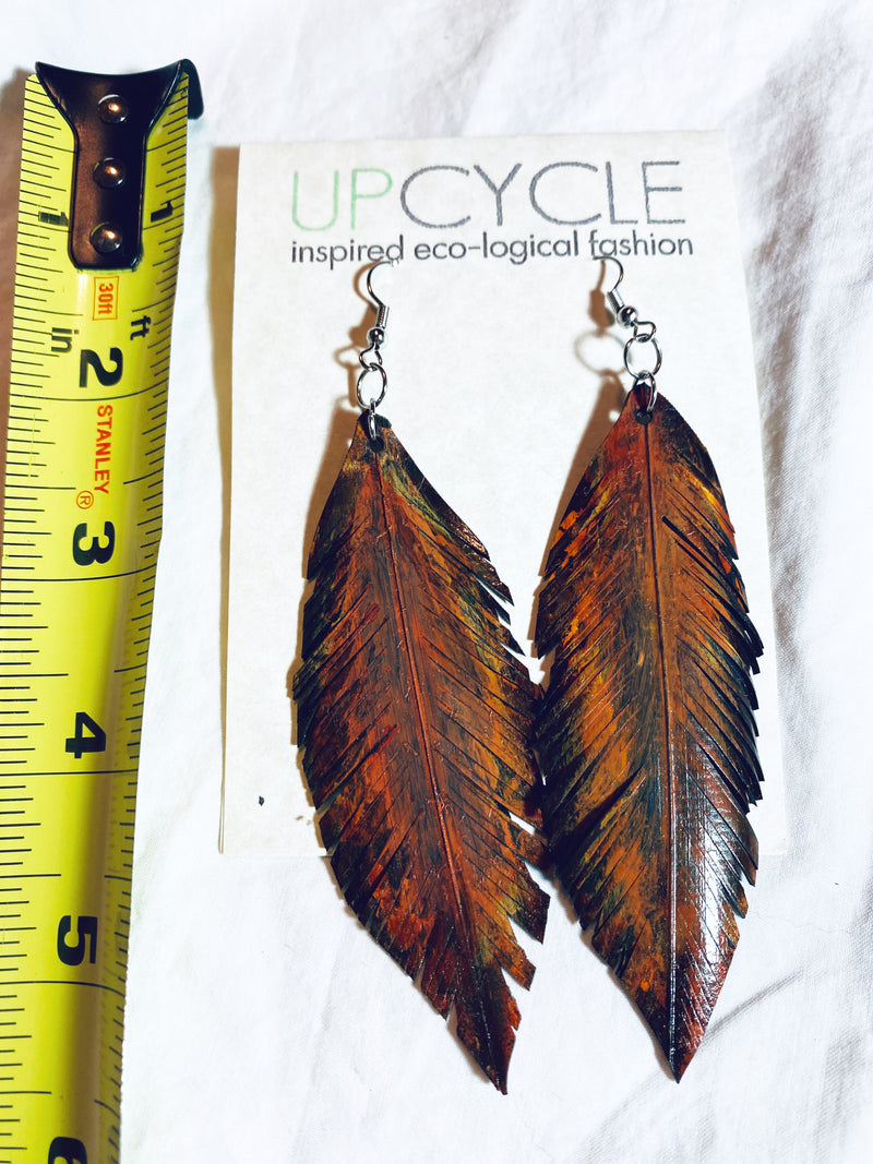 Flight UPCYCLE Rubber Feather Earrings - sariKNOTsari slow fashion bryn walker linen Hamilton sustainable fashion gifts sari not sari Hamilton Fair trade  Ethical  Artisan made  Zero waste  Up-cycled Slow Fashion  Handmade  GTA Toronto Copper Pure Upcycled vintage silk handmade recycled recycle copper pure silk travel clothing hamilton vacation cruisewear resortwear bathing suit bathingsuit vacation etsy silk clothing gifts gift dress top pants linen bryn walker alive intentions kaarigar elephants
