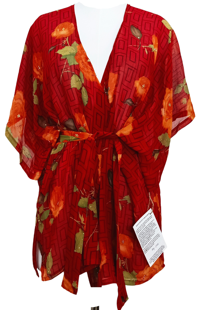 Gerbera Sheer Pure Silk Kimono-Sleeved Jacket with Belt