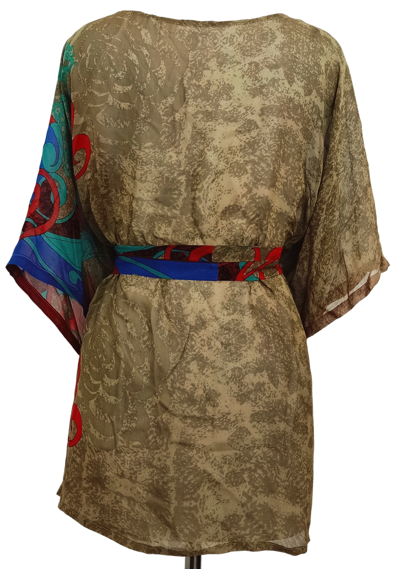 Dreamy Sheer Pure Silk Kimono-Sleeved Jacket with Belt