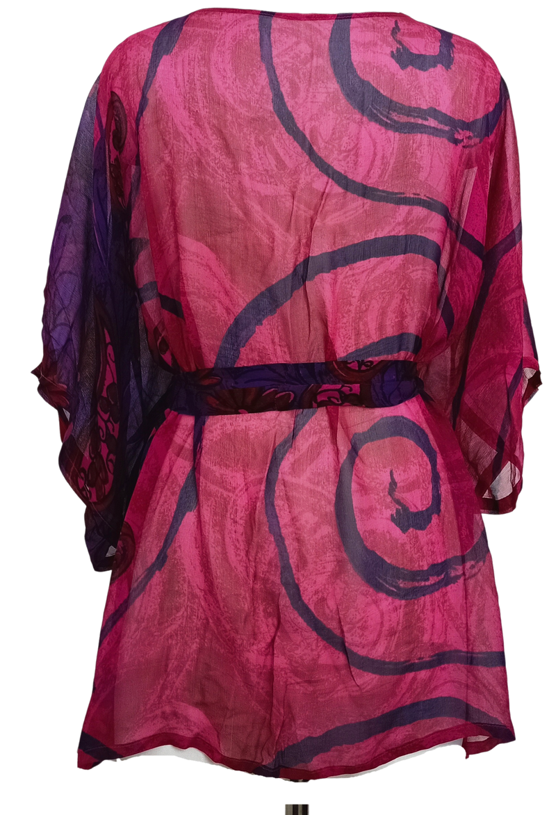 Decadent Sheer Pure Silk Kimono-Sleeved Jacket with Belt