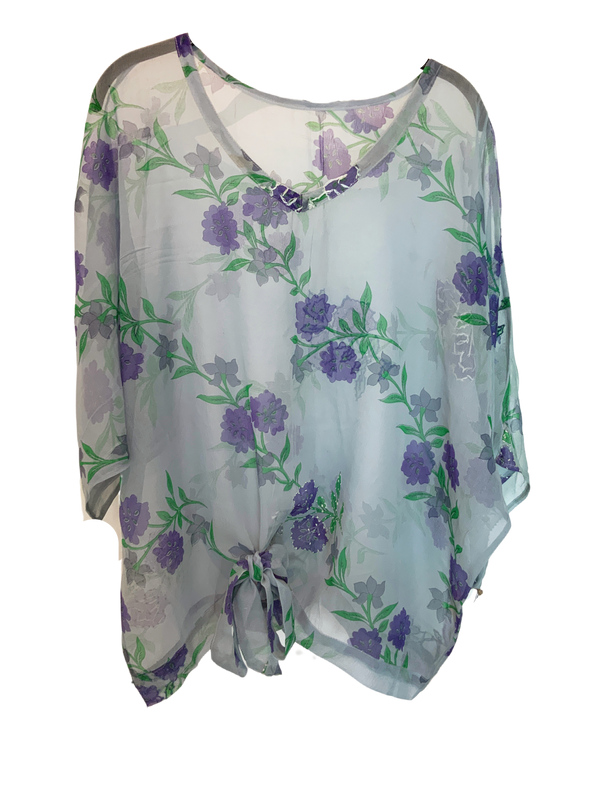 Flowerfield Sheer Wabi-Sabi Pure Silk Front Tie Top