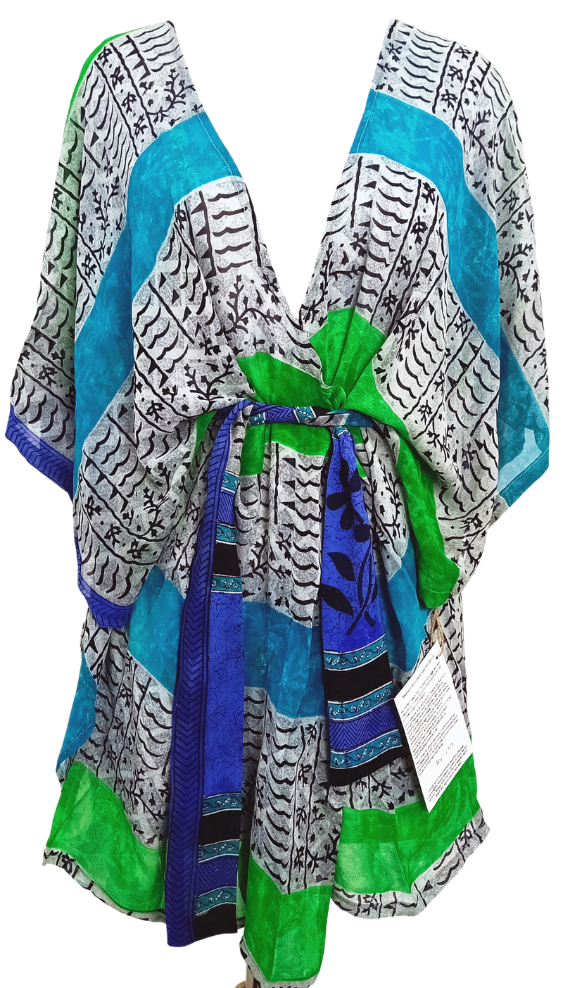 Joliet Sheer Pure Silk Kimono-Sleeved Jacket with Belt