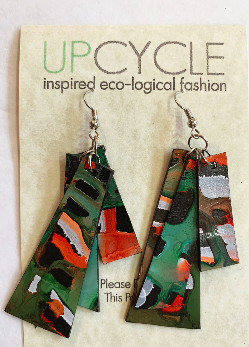 Sage UPCYCLE Rubber Earrings - sariKNOTsari slow fashion bryn walker linen Hamilton sustainable fashion gifts sari not sari Hamilton Fair trade  Ethical  Artisan made  Zero waste  Up-cycled Slow Fashion  Handmade  GTA Toronto Copper Pure Upcycled vintage silk handmade recycled recycle copper pure silk travel clothing hamilton vacation cruisewear resortwear bathing suit bathingsuit vacation etsy silk clothing gifts gift dress top pants linen bryn walker alive intentions kaarigar elephants