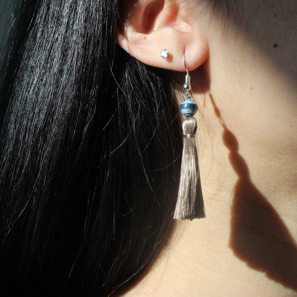 Recycled Paper & Silk Tassel Earrings