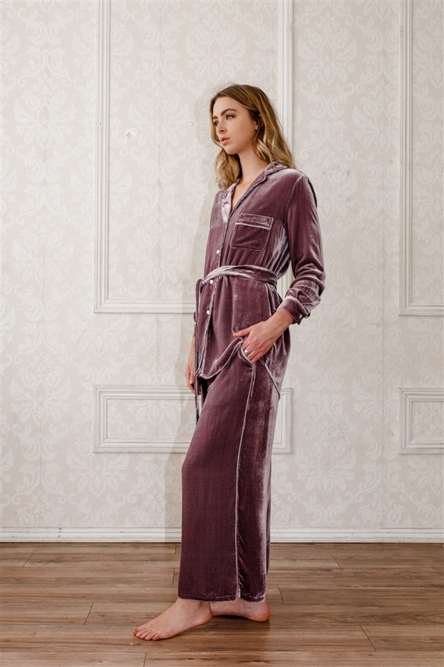 Silk-Velvet Nightshirt-Mauve Sea fog