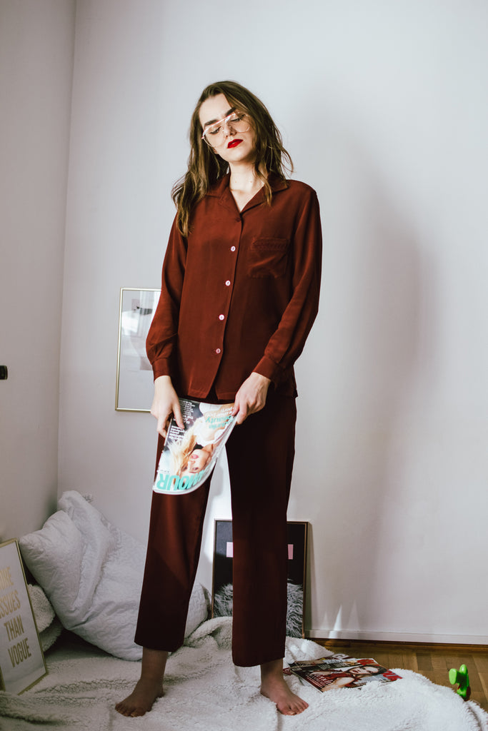 Part Time Siren Silk Crepe Pajama Set - Tawny Port