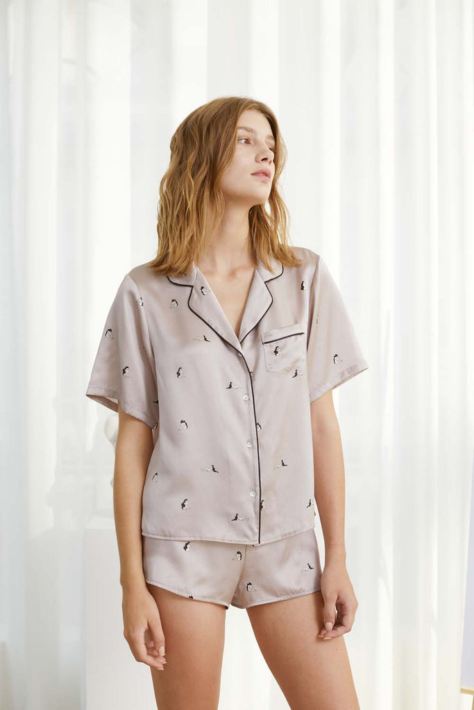 Self in Naked Printed Silk-Satin Shirt and Shorts Set