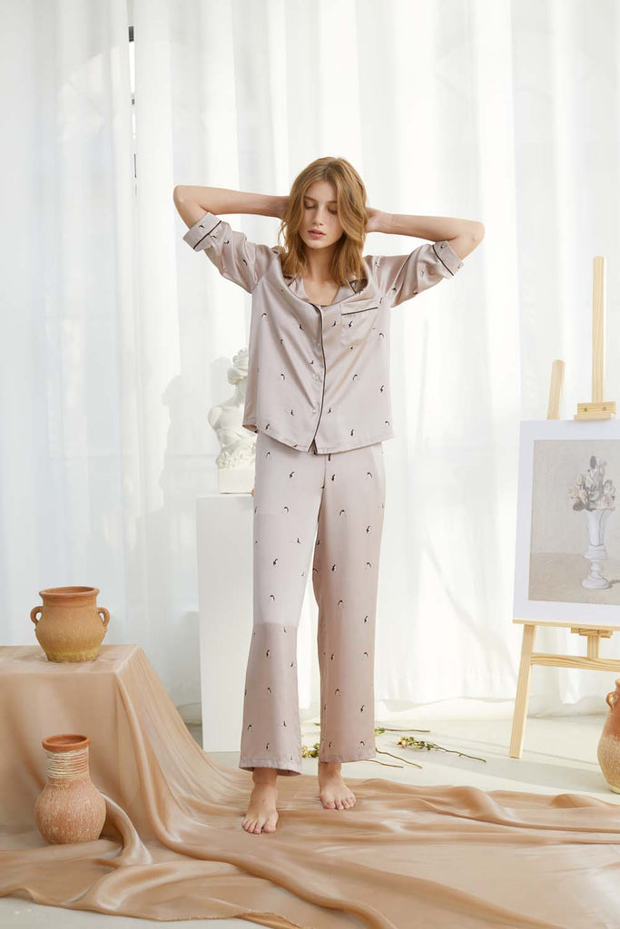 Self in Naked Printed Silk-Satin Pajama Set