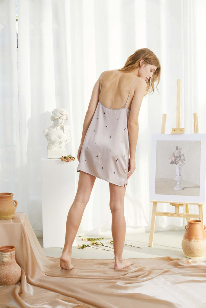 Self in Naked Printed Silk-Satin Slip Dress