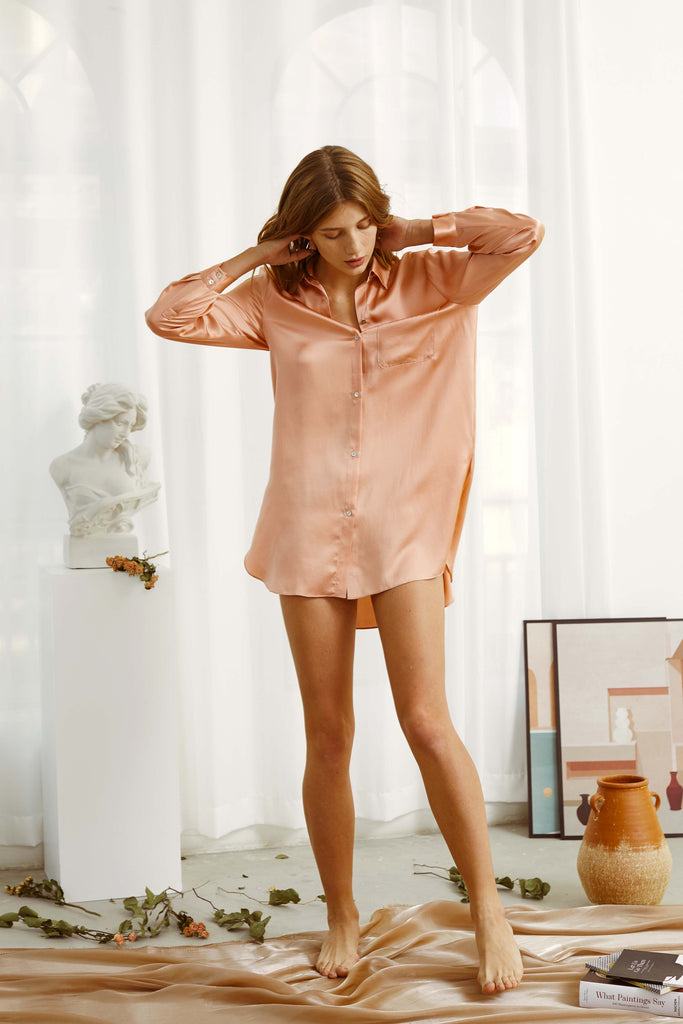 Love Song Embroidered Silk-Satin Nightshirt