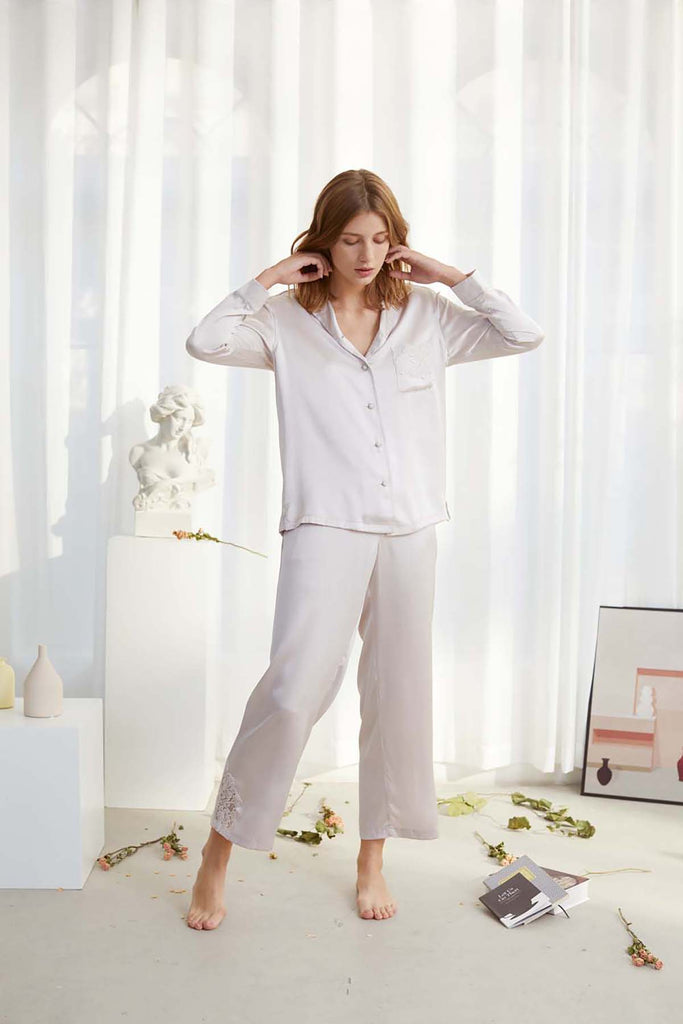 Smoothed Morning Lace-trimmed Silk-Satin Pajama Set